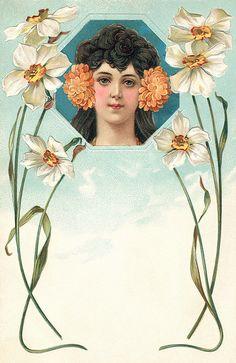 Art Nouveau postcard. Printed chromo-litho and embossed.