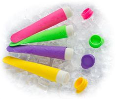GRAZIA® - 4 Piece Silicone Ice Pop Maker Set, NEW 2013 Colors, Popsicle Mold, FDA Approved & BPA Free