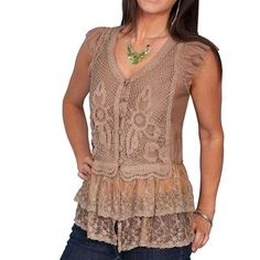 Scully Women's Lace Bottom Cap Sleeve Blouse