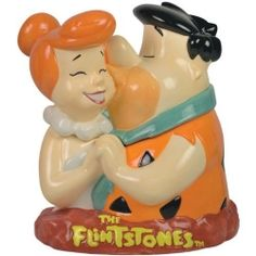 ✿ڿڰۣ(̆̃̃•Aussiegirl The Flintstones Fred and Wilma Cookie Jar