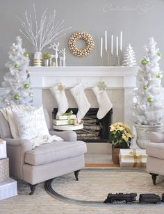 holiday, living rooms, fireplac, christmas decorations, white rooms