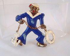 Rare Vintage Blue & White Enamel Sailor Brooch from CarriersCozyCottage rare vintag, enamel sailor, vintag blue, white enamel, sailor brooch, carrierscozycottag, blues, villag wwwthevintagevillagecom, enamels