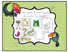 Scrappy Rainforest Animals Printable from Preschool Printables on TeachersNotebook.com -  (24 pages)  - Printable: The activities in this pack are designed to have fun while the child learns a variety of preschool concepts including, color, patterns, sequence, size, letters and more.