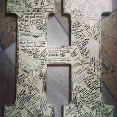 """We used an """"M"""" like this at our wedding for our guest book. LOVE IT! It now hangs above our bed. Very special! wedding books, guest book alternatives, wood letters, guest books for weddings, rustic weddings, guestbook, wedding guests, wedding guest books ideas, shabby chic weddings"""