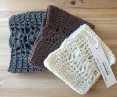 Lace Crochet Boot Cuffs -  Knit Boot Topper - Leg Warmer Boot Socks / Ivory - Brown - Gray / READY TO SHIP