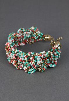 Beads string woven bracelet