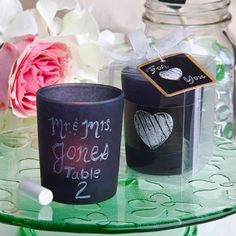 Chalkboard Candle with Chalk Favor