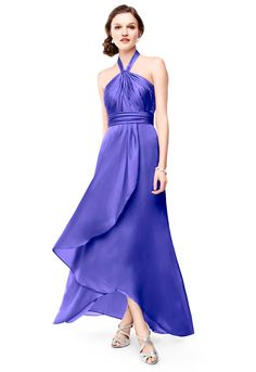 Long Matte Charmeuse Bridesmaid Dress with Y Neckline Style F15736 #davisdbridal #bridesmaiddress #purpleweddings