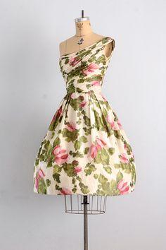 1950's Fabulously Floral Silk Dress