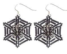 Free Halloween Spiders Web Earrings Tutorial featured in Bead-Patterns.com Newsletter!