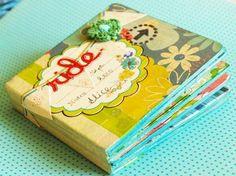 Adorable mini album using coasters & masking tape