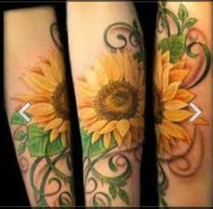 thigh tattoos, color, sleev, sunflow tattoo, flower