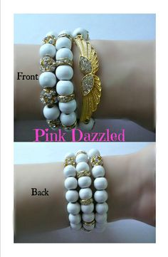 Pave Crystal Angel Wing Bracelet Set by PinkDazzled on Etsy, $19.99