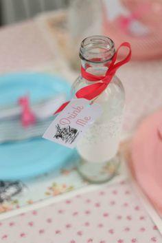Drinks from this Shabby Chic Alice in Wonderland Themed Birthday Party Full of Fabulous Ideas via Kara's Party Ideas KarasPartyIdeas.com #aliceinwonderland #...