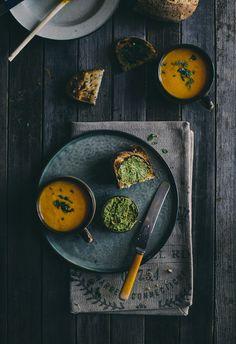 Carrot soup and carrot top pesto idea.