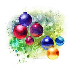 Christmas watercolor paintings