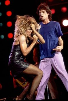 TIna Turner and Mick Jagger perform in Philadelphia during Live Aid on July 13, 1985