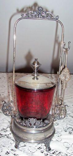 Antique Victorian Pickle Castor American Silverplate C0 Quadruple 186 Ruby Red