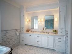 Love this vanity design. #shaker #bathroom #vanity #cabinets #linen #storage