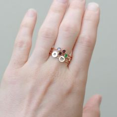 dual birthstone ring in GOLD. two stone ring. by MeadowbelleMarket