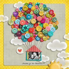 Up inspiration button art, frame, button crafts, layout, card, buttons, scrapbook pages, anniversary gifts, hot air balloons