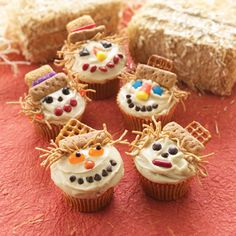 holiday, idea, cupcakes, food, fall, scarecrows, scarecrow cupcak, kid, halloween