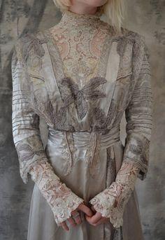 Edwardian silver silk wedding gown