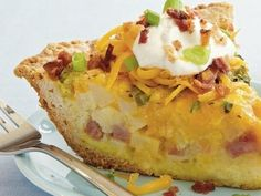 Loaded Potato Quiche -  bacon topped potato quiche that's made with ham and Bisquick® mix and frozen hash browns.