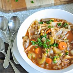This Crockpot Vegetable Lentil Soup is simple, delicious, super healthy, and can serve a crowd.  V+GF+P