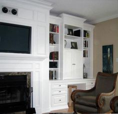 A dramatic custom TV wall unit for a high ceiling living ... | My Des…