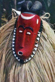 Africa |  Baule masked dancer.  Ivory Coast || Scanned postcard; photo by Hoa-Qui
