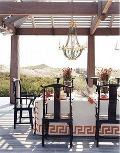 Table cloth with laced up corners and wonderful Greek Key trim.