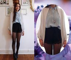 Cardigan, Boots, Kimchi Blue Shorts,  Vintage Shirt