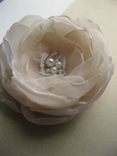 Brooch and Hair clip 2 in 1 pearl centerpiece beige by LeFlowers, $25.00