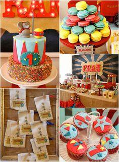 vintag circus, circus theme, birthday parties, theme parti, birthday idea