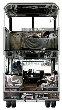 this is a plan to turn a bus into a roving hostel without changing the exterior