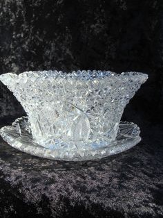 American Brilliant Cut Glass Bowl and Underplate