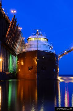 The Kaye E. Barker unloading at the Presque Isle Iron Ore Dock in Marquette, MI. #puremichigan