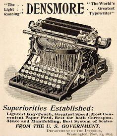 """1896 ad: Densmore """"World's Greatest Typewriter"""""""