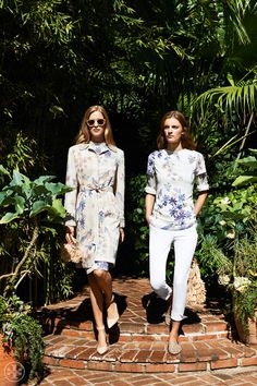 As modern and refined as tone-on-tone and print-on-print, flowers-on-flowers really make a look | Tory Burch Resort 2014