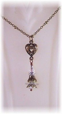 New w/Swarovski Crystal/Freshwater Pearl Filigree Heart Pendant Necklace