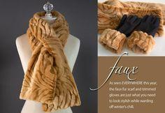 Lush & Plush Trends from Fabric.Com: Faux Fur Pull-Thru Scarf & Cuffed Gloves