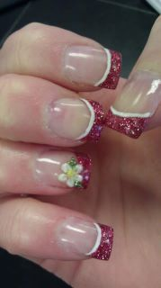 spring time nails with a 3D acrylic flower!