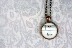 Necklace sheet music jewelry  Copper pendant with by GildedNotes