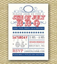Vintage 4th of July BBQ Invitation  by SunshinePrintables on Etsy, $18.00 typography poster, typographi poster, printabl, parti
