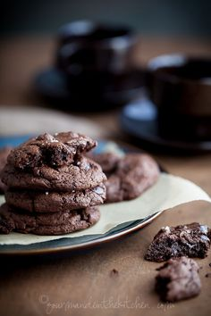 Double Chocolate Chunk Cookies from Gourmande in the Kitchen Double Chocolate Cookies with Chocolate Chunks (Gluten Free, Grain Free, Paleo)