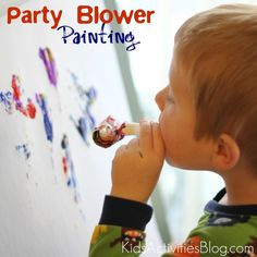 Party paint game. That looks like fun. Use a party blower as a way to spread paint! Kids will get a kick out of that. (Better use a drop sheet or do it outside!)    #painting #kidscrafts #birthdayparties #kids #fun