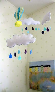 Mint Green Nursery with Cloud Mobile #nurserymobile