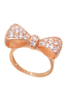 ring rose, accessori, sterling silver, gold bow, bows, jewelri, cz bow, bow ring, rose gold