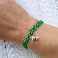 Peridot Leo Wire Crochet Zodiac Charm Bracelet